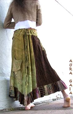 AuraGaia ~ Organic  BoHo Raw Tribal Fae Forest Bustleback OverDyed Upcycled Poorgirl Tattered Raw Skirt