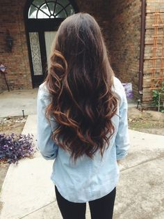 Brown ombre hair color for dark hair with bright highlight, balayage hair style of 2015 summer