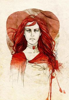 "Lady Melisandre of Asshai from ""A Song of Ice and Fire"", as illustrated by Elia Fernández."