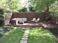 17 wonderful garden decking ideas with best decking designs small garden and patio small modern backyard garden with green grass and footpath plus patio with hardwood floor tiles and dark gray rattan sofa with white workwithnaturefo