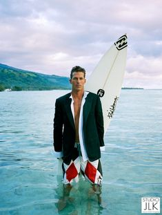This is the late professional surfer Andy Irons. It's a cool picture posing/wardrobe idea for ocean & surfer shots. The boardshorts with a sport coat/suit jacket on. Like it!