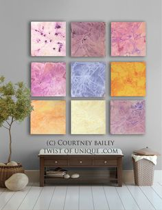 Pastel Abstract art, 9 square CUSTOM Abstract Wall Art, Large abstract painting, Colorful painting, -Pink, Purple, yellow, blue, orange.