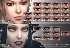 Eye colors - Default Replacement + Non-default and Glowing Eyes for Vampires (Default Replacement + Non-default) !! To use these Vampires' glowing eyes,you need The Sims 4 Vampires Game Pack...