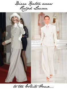 Diane Keaton outfit ideas | Diane Keaton wears Ralph Lauren to the White House