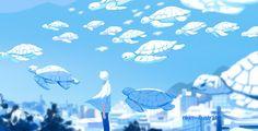 N*Kim(@nkim_illustrate)さんのメディアツイート / Twitter Aesthetic Desktop Wallpaper, Cute Wallpaper Backgrounds, Cute Cartoon Wallpapers, Aesthetic Backgrounds, Anime Fox Boy, Light Blue Aesthetic, Blue Anime, Art Prompts, Animation Background