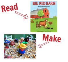Read together and then make a great farm sensory bin to play with . Post includes 24 other books and craft pairs!