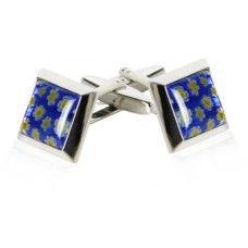 Blue Italian Glass Cufflinks With Floral Design