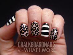 Leopard + Stripe Nails