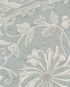 Tapet Pure Honeysuckle & Tulip Grey Blue från William Morris & Co Home Reno, William Morris, Old Houses, Metallica, Tulips, Blue Grey, Monochrome, Pattern Design, Floral Prints