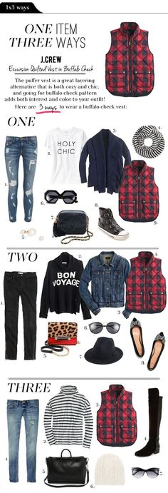 3 Different Ways to Layer the J.Crew Excursion Vest. I love the idea of the vest over a denim jacket!