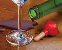 Plunge Bottle Stopper - Plumbers love wine too! Cork wine between glasses with this funny wine stopper! | FunSlurp