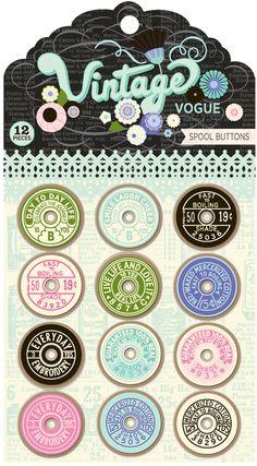 Pink Paislee :: Discontinued :: Vintage Vogue :: Vintage Vogue - Spool Buttons 00547