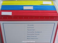 School Memory Box + 3 freebies - a great way to store the best of your kid(s) school mementos each year!  :)
