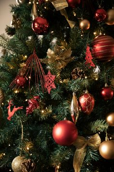 Can you beat a traditional red and gold theme at Christmas? Luxury Christmas Tree, Magical Christmas, 1st Christmas, Christmas Gifts, Red Gold, Green And Gold, Red Green, Christmas Tree Decorations, Holiday Decor