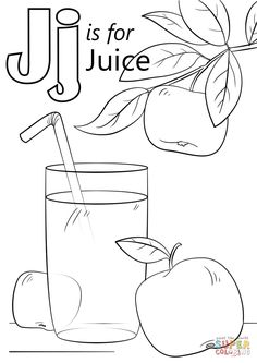 Letter J is for Juice coloring page Free Printable Coloring Pages J Alphabet, Alphabet For Kids, Preschool Letters, Letter Activities, Spanish Alphabet, Learning Activities, Kids Learning, Teaching Resources, Turtle Coloring Pages