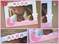 Marco para fotos recién nacido, personalizado con nombre. Hecho a mano. www.le-chat-noir.es/desvan #bebe #baby #babyshower #nacimiento #bautizo https://www.facebook.com/pages/Le-Chat-Noir-Hecho-a-mano/113710975370328 http://artesanio.com/shop/section/9853?shop_slug=le-chat-noir-hecho-a-mano&section_slug=bebes-y-ninos