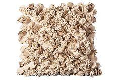 Rosettes 20x20 Pillow, Ivory/Beige on OneKingsLane.com