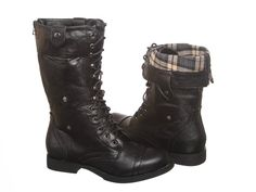 Amazon.com: New! Military Combat Boot Fold-over Cuff + Zipper on the Back Multiple Color: Shoes