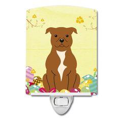 Easter Eggs Staffordshire Bull Terrier Brown Ceramic Night Light BB6047CNL