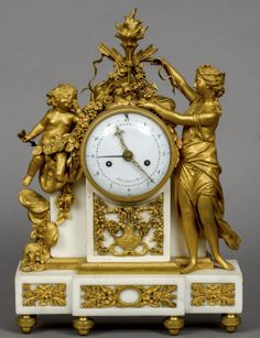 NICOLAS-ALEXANDRE FOLIN century) French An early century white marble and gilt bronze eight-day striking mantel clock The 4 inch white enamelled dial with Arabic numerals and integral date dial, signed Folin L'Aine a Paris Mantel Clocks, Old Clocks, Antique Clocks, Large Vintage Wall Clocks, Large Clock, French Clock, Wall Clock Online, Retro Clock, Modern Clock