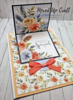 Hello crafters, today I'm sharing this pretty Sliding Flip Page Card. This card wasn't planned and kind of evolved from my Waterfall Card. To look at it looks like a standard fold card … Flip Cards, Fancy Fold Cards, Folded Cards, Card Making Tutorials, Card Making Techniques, Making Ideas, Making Cards, Kirigami, Waterfall Cards