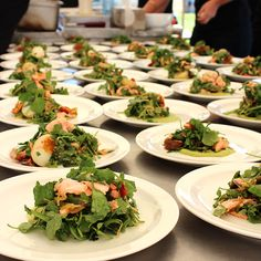 Flaked Salmon with candied lemon, semi dried tomatoes, rocket and watercress on avocado puree. #yum #catering #salad #eyg2016 #eatyourgreens