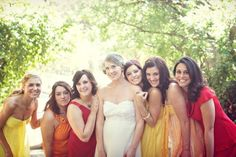 "I never thought I'd like ""mismatched"" bridesmaids dresses, but I think it's possible to pull it off if you choose a good color scheme. This scheme would be perfect for a fall wedding."