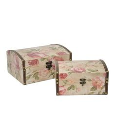 Another great find on #zulily! Small Rose Wood Box Set #zulilyfinds