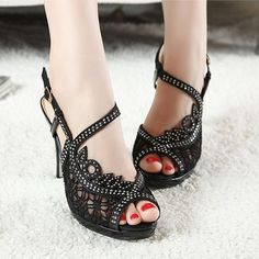 "Sexy Lace Rhinestone Black / Apricot OL Lady 3.5"" High Heels Women Sandals Shoes"