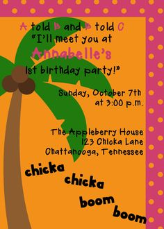chicka chicka boom boom invitation by SweetAppleberry on Etsy, $10.00