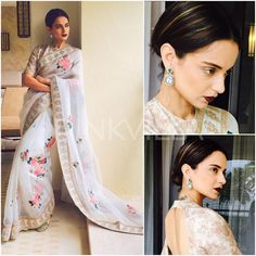For a Builders' event in Goa today, Kangana Ranaut did a Sabyasachi look. She looked refined and oh so elegant in a floral print saree by Sabya that . Sabyasachi Sarees, Lehenga, Georgette Sarees, Moda Indiana, Indian Attire, Indian Wear, Indian Style, Floral Print Sarees, White Saree