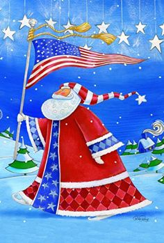 Toland Home Garden Patriotic Santa 28 x 40Inch Decorative USAProduced House Flag *** Click image to review more details. Note: It's an affiliate link to Amazon