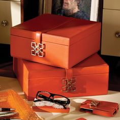 Orange leather jewelry box for all your baubles!