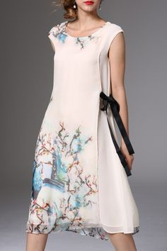Floral Layered Chiffon Dress