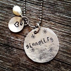 Simplify necklace. Stamped metal. Stamped jewelry. Personalized gift. Favorite word. Special gift. Mother's gift. Best friend gift. Simple.