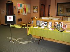 whodunit library display -use during spring break to advertise mystery program?