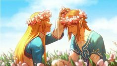 Would it be alright if I referred to this fanart as hippy link and zelda or link and zelda in love and spending quality time together?