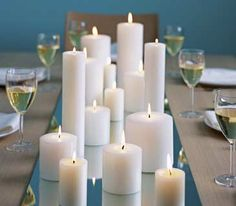 X-Mas dinner centerpiece! Class from a full length mirror, white candles!!!