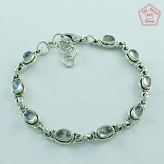 RAINBOW MOON STONE COMFORTABLE DESIGN 925 STERLING SILVER BRACELET BR3301…