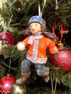 """Купить Ватная елочная игрушка """" Мальчик со снежком""""(13 см) - куклы и игрушки"""