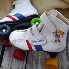 "Rainbow Brite skates... Kinda thinking ""Painbow Fright"" as a Derby name...."