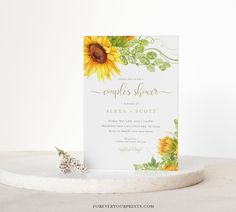 Couples Baby Shower Invitation Template Sunflower Baby Shower | Etsy