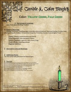 Candle Magick - Yellow Green & Pale Green Candle - The Witch of Blackbird Pond