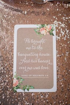 Biblical verse for wedding   SouthBound Bride   http://www.southboundbride.com/romantic-rose-gold-wedding-at-shepstone-gardens-by-jack-and-jane   Credit: Jack and Jane Photography
