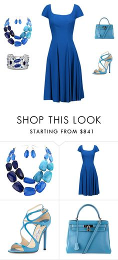 """Untitled #95"" by wiezyczka ❤ liked on Polyvore featuring Zac Posen, Jimmy Choo, Hermès and BillyTheTree"