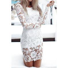 $16.26 Sexy Scoop Collar Long Sleeve Flower Pattern Women's Lace Dress