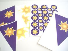 Tangled Party - Rapunzel Birthday Party Decorations - PRINT AT HOME Pennant Flag Banner, Suns, Favor Tags, Cupcake Toppers, and More