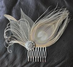 Hair Accessorybridal comb wedding comb bridal head piecewedding hair pieceI - Nail Effect Headpiece Wedding, Bridal Headpieces, Fascinators, Wedding Veils, Barrettes, Bridal Comb, Peacock Feathers, Peacock Hair, Peacock Colors