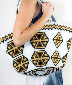 "Mochila Wayuu bags are a fresh and colorful take on the traditional shoulder bag. Crocheted with exquisite craftsmanship by a remote group of indigenous women living in northern Colombia, each bag is uniquely designed based on a centuries-old stitching technique and incorporates a hand-braided strap and surprisingly roomy pouch. Throw the true definition of ""contemporary tradition"" over your shoulder this spring!"