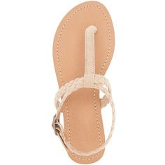 Charlotte Russe Braided T-Strap Thong Sandals ($18) ❤ liked on Polyvore featuring shoes, sandals, nude, flat thong sandals, toe thongs, nude sandals, braided ankle-wrap sandal and bohemian sandals